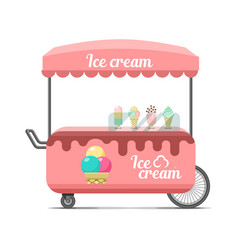 Ice cream street food cart colorful image vector