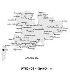 Island of mykonos in greece white map vector