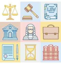 Law contour icons set in flat design style vector