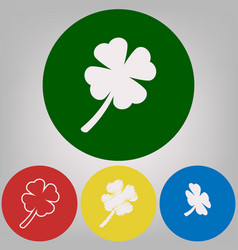 Leaf clover sign 4 white styles of icon vector