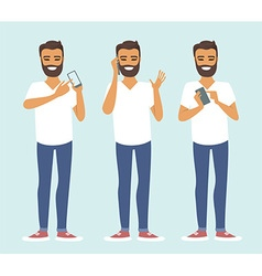 Man using smartphone vector image vector image