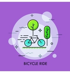 Modern minimal flat thin line bicycle ride concept vector