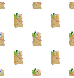 Paper bag filled with food icon in cartoon style vector