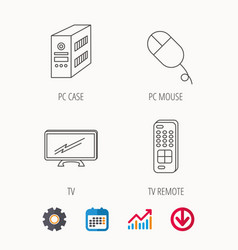 Pc mouse tv remote and computer icons vector