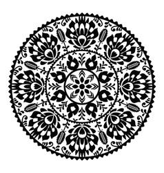 Polish traditional black folk pattern in circle vector