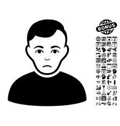 Sad Man Flat Icon With Bonus vector image