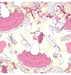 Seamless pattern with evening dress and fashion vector