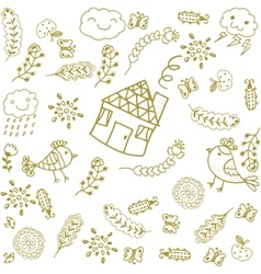 Set of leaves doodle art vector