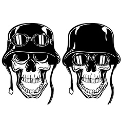 Skull in helmet with goggles vector