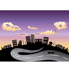 Sunset City and Road Silhouette3 vector image