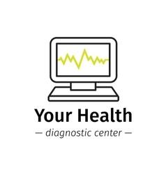 Trendy line style medical center logo vector