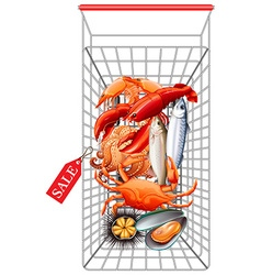 Various seafood in shopping cart vector image vector image