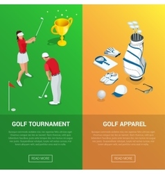 Vertical Golf Club banners with golf tournament vector image