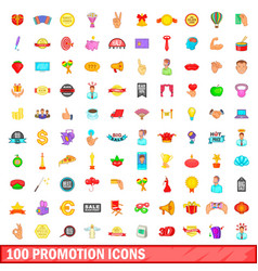 100 promotion icons set cartoon style vector image vector image