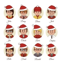 Christmas set of avatars your office team vector