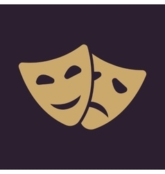 The theater and mask icon drama comedy tragedy vector