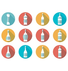 Bottle of water flat icon with long shadow vector