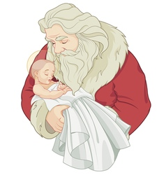 Santa and baby jesus vector