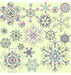 Collection of retro snowflakes vector