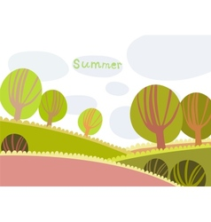 Colorful summer landscape with trees and clouds vector image