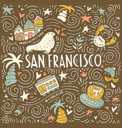 Symbols of san fransisco vector