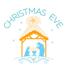 happy christmas eve logo vector image