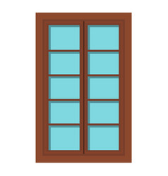 wooden brown latticed window icon isolated vector image