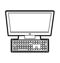 Computer with keyboard icon imag vector