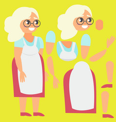 Grandmother in apron broken for animation vector