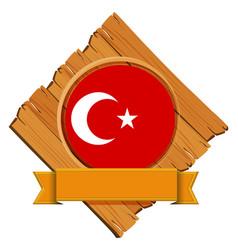 Flag of turkey on wooden board vector