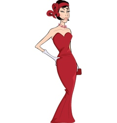The woman in a red evening dress cartoon vector