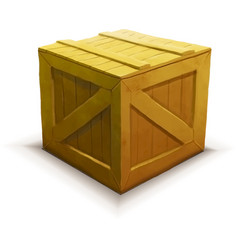 Yellow wooden crate realistic icon isolated on vector