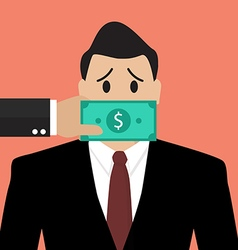 Businessman with dollar banknote taped to mouth vector