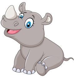 Cartoon baby rhino sitting isolated vector