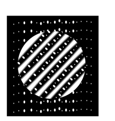 The white circle with stripes on a black rectangle vector