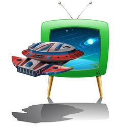 Spaceship flying in the space on tv vector