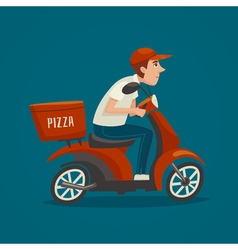 Printpizza courier cartoon scooter driver male boy vector
