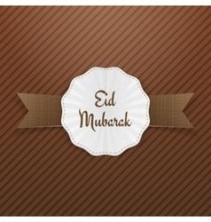 Eid mubarak greeting emblem with ribbon vector