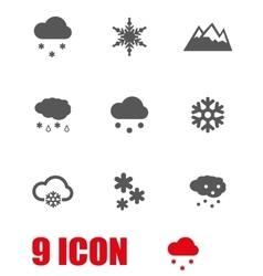 Grey snow icon set vector