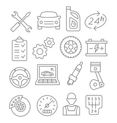 auto service line icons vector image vector image