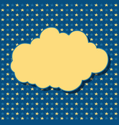 Cartoon yellow cloud with shadow on blue vector