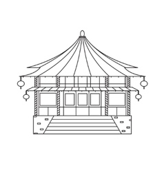 Chinese buddhist temple monastery building vector