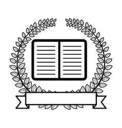 Crown of leaves with open book and label icon flat vector
