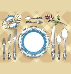 Cutlery set sketch vector