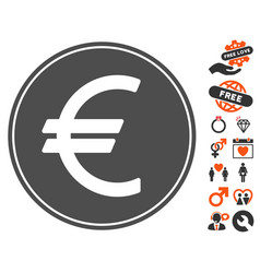 Euro coin icon with dating bonus vector