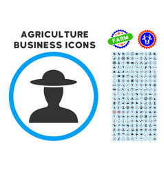 Farmer person rounded icon with set vector