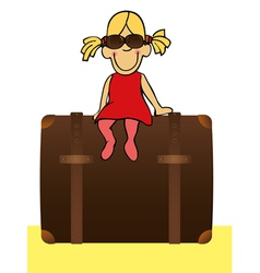 funny girl is going to traveling vector image