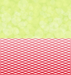 Green background boken and red tablecloth diagonal vector