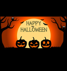 halloween background with silhouettes of pumpkins vector image