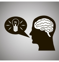 Headmind brain head silhouette generate lamp idea vector